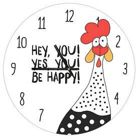 Часы настенные круглые, 36 см Be happy!