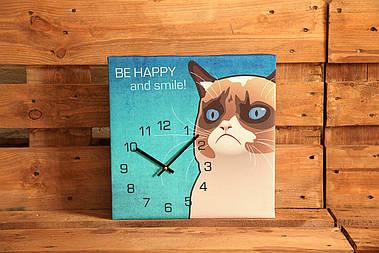 Годинники настінні квадратні Be happy and smile!