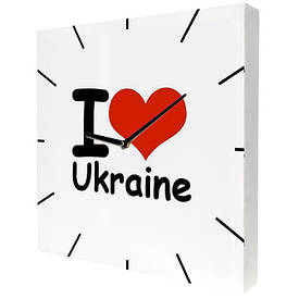 Годинники настінні квадратні I love Ukraine