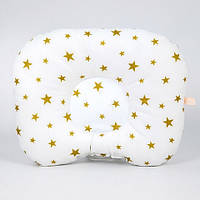 Детская ортопедическая подушка BabySoon Золотые звёзды 22х26см наполнитель высший сорт цвет молочный (П-312)