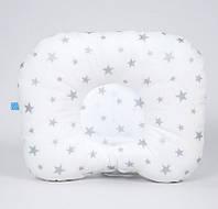 Детская ортопедическая подушка BabySoon Серебряные звезды 22х26см наполнитель высший сорт цвет белый (П-313)