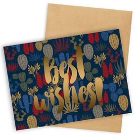 Открытка с конвертом Best wishes!