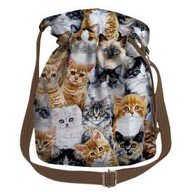 Женская сумка мешок Torba Котики
