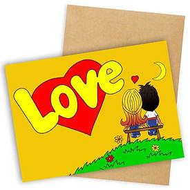 Открытка с конвертом Love желтая