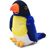 Мягкая интерактивная игрушка-повторюшка Попугай Колька синий, 18 см (M 1984)