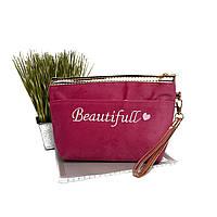 Рожева сумочка жіноча текстиль Арт.7092 (Китай)
