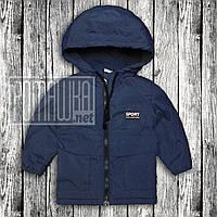 Детская ветровка р 92 (86) 1-2 года куртка парка для мальчика малышей с капюшоном тёплая на флисе 6052 Синий