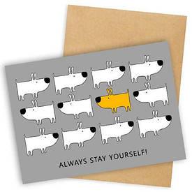 Открытка с конвертом Always stay yourself!