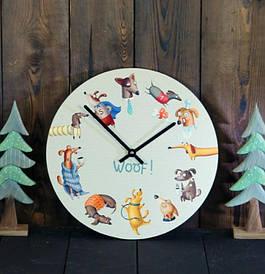 Часы настенные круглые, 36 см Dogs Woof!
