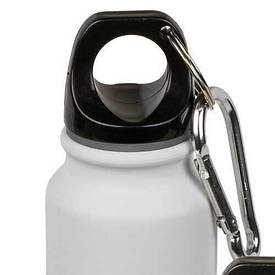 Алюмінієва пляшка для пиття з карабіном, 220 мл, біла