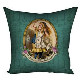 Наволочка на подушку 50x50 см Alice in the Wonderland зелений фон