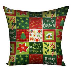 Подушка з принтом 30х30 см Merry Cristmas