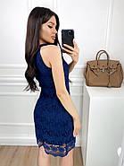 Короткое женское платье из кружевной ткани на подкладке, 00814 (Синий), Размер 42 (S), фото 3