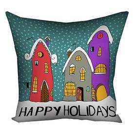 Подушка з принтом 30х30 см Happy holidays