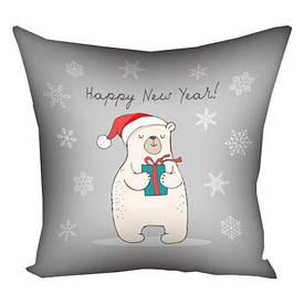 Подушка з принтом 30х30 см Happy New Year!