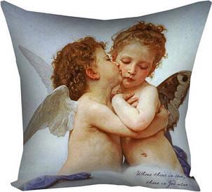 Подушка з принтом 40х40 см Амур і Психея в дитинстві