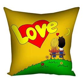 Подушка з принтом 30х30 см Love is жовта