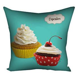 Подушка з принтом 30х30 см Cupcakes