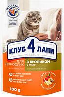 Вологий корм для дорослих кішок Club 4 Paws (Клуб 4 Лапи) Преміум з кроликом в желе 24 пачки по 100 г