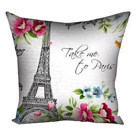 Подушка с принтом 40х40 см Take me to Paris