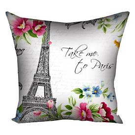 Подушка з принтом 40х40 см Take me to Paris