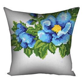 Подушка з принтом 40х40 см Голубі квіти на білому фоні