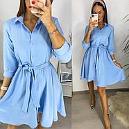 Легкое воздушное платье с поясом, рукав три четверти на кнопке, 00750 (Голубой), Размер 42 (S), фото 3
