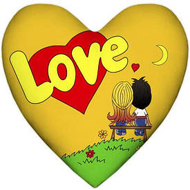 Подушка серце Love, жовта