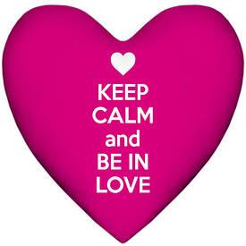 Подушка сердце XXL Keep calm and be in love