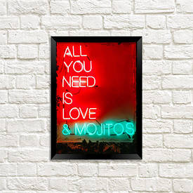 Постер в рамці A4 All you need is love & mojitos