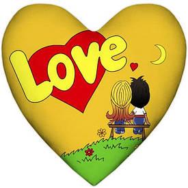 Подушка сердце XXL Love, желтая