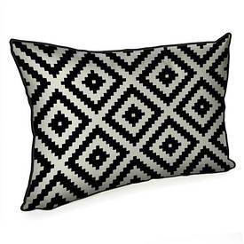 Подушка для интерьера 45х32 см Черно-белый геометрический ромб
