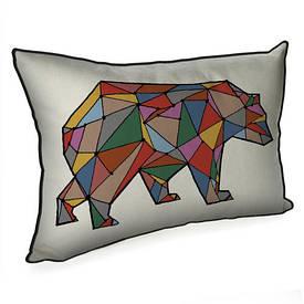 Подушка для интерьера 45х32 см Медведь из линий