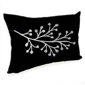 Подушка для интерьера 45х32 см Белая ветка на черном фоне