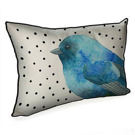 Подушка для интерьера 45х32 см Синяя птичка