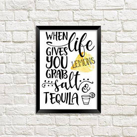 Постер в рамці A5 When life dives you grab salt tequila