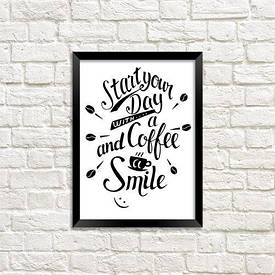 Постер в рамці A5 Start your day with a coffee and a smile