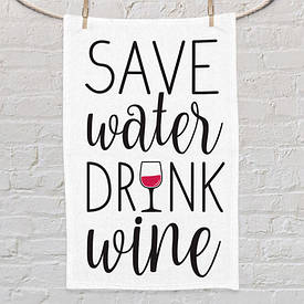 Полотенце маленькое с принтом Save water drink wine