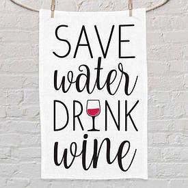 Рушник маленьке з принтом Save water drink wine