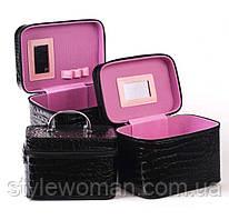 Шкатулка косметичка 3 в 1 зеркало, черная