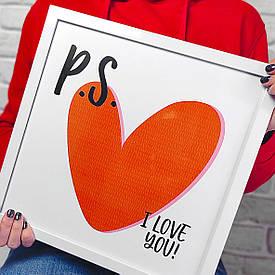Постер в рамці, 30х30 см P. S. I love you