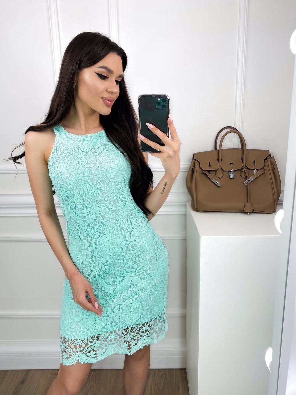Легке жіноче плаття без рукавів прямого крою, 00813 (М'ятний), Розмір 42 (S)