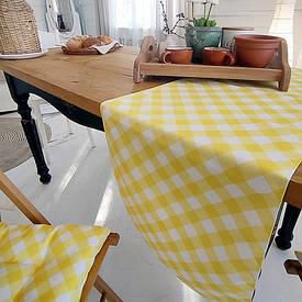 Доріжка на стіл (раннер) Біло-жовті смуги