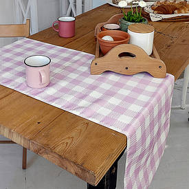 Доріжка на стіл (раннер) Біло-рожеві квадрати