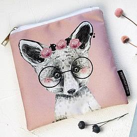 Косметичка квадратная Basic Лисичка в очках