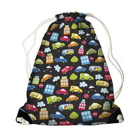 Рюкзак-мішок MINI Машинки на чорному тлі