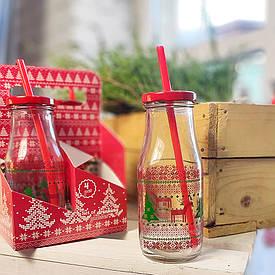 Набор бутылочек с соломинкой Merry Christmas, 4 шт.