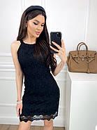 Коротке плаття прямого крою без рукавів з мережива + підкладка, 00812 (Чорний), Розмір 48 (XL), фото 2