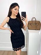 Коротке плаття прямого крою без рукавів з мережива + підкладка, 00812 (Чорний), Розмір 48 (XL), фото 3