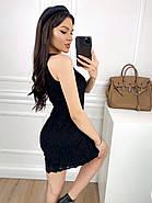 Коротке плаття прямого крою без рукавів з мережива + підкладка, 00812 (Чорний), Розмір 48 (XL), фото 4